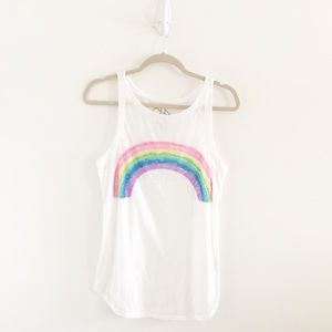 Chaser Chasing Rainbows White Burnout Tank